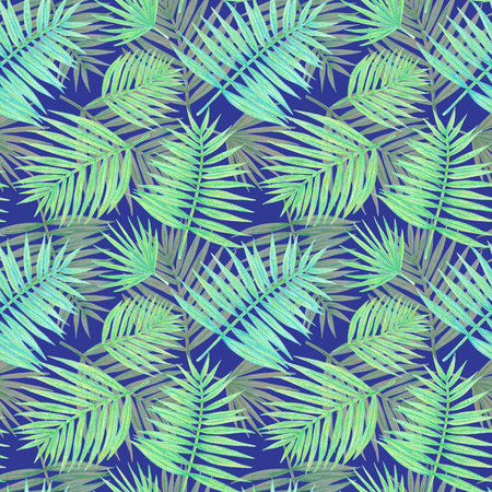 hand drawing tropical plants. palm leaves seamless pattern on a blue background 版權商用圖片 - 103444213