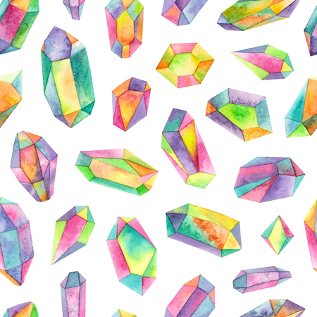 watercolor rainbow iridescent gemstones.seamless pattern on a white background 版權商用圖片 - 103476078