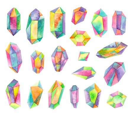 watercolor iridescent gemstones. isolated elements