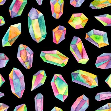 watercolor rainbow iridescent gemstones.seamless pattern on a black background 版權商用圖片 - 103476081