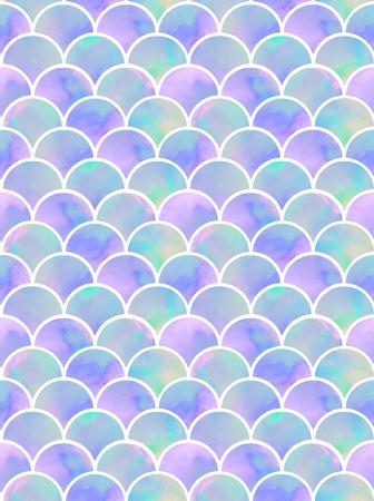 watercolor rainbow scales of mermaid. seamless pattern