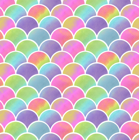 watercolor multicolored scales of mermaid. seamless pattern 版權商用圖片 - 103777102