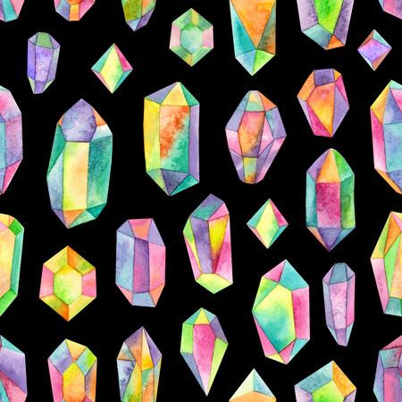 watercolor rainbow iridescent gemstones.seamless pattern on a black background