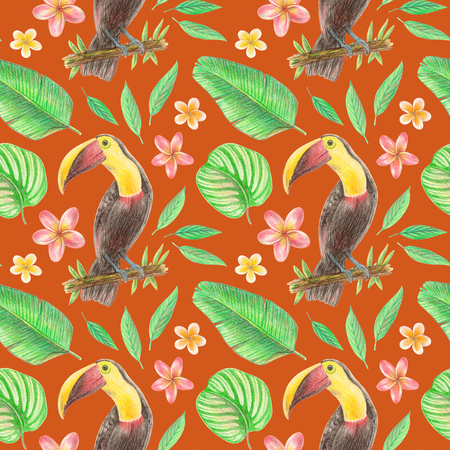 hand drawing tropical plants, flowers and birds.  toucan in the tropics. seamless pattern on a red background 스톡 콘텐츠