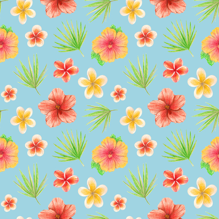 hand drawing tropical leaves and flowers. seamless pattern on a mint background 版權商用圖片 - 103764954