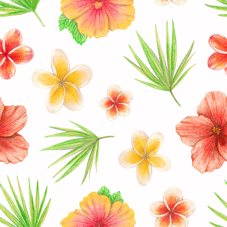 hand drawing tropical plants and flowers. seamless pattern