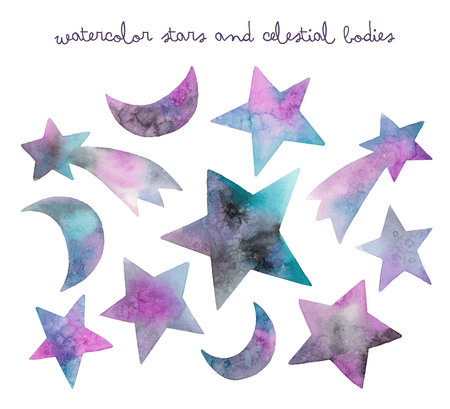 watercolor stars and celestial bodies. isolated elements on a white background 版權商用圖片 - 103731470