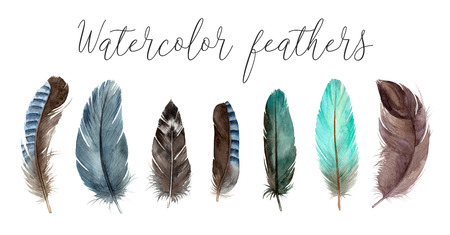 watercolor set illustrations feathers. hand painting isolated elements. 版權商用圖片 - 103732357