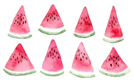 watercolor triangle slices of watermelon. hand painted isolated elements.