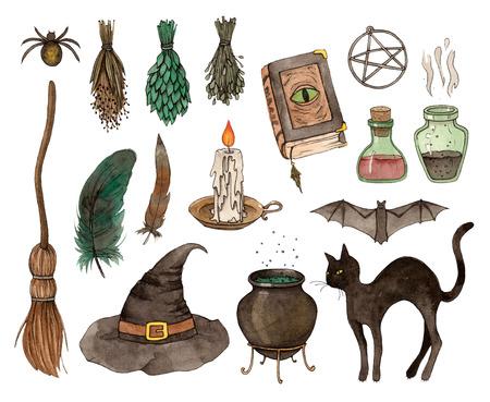 watercolor sketch halloween set. hand painting isolated elements. 版權商用圖片 - 104571040