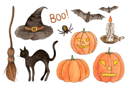 watercolor sketch halloween set. hand painting isolated elements. 스톡 콘텐츠