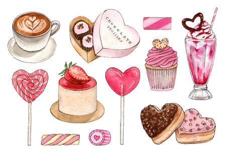 watercolor hand painting dessert and sweet drinks set. isolated elements 版權商用圖片 - 103945534