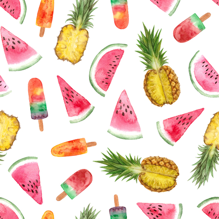watercolor summer fruit sweets illustration. seamless pattern on a white background 스톡 콘텐츠