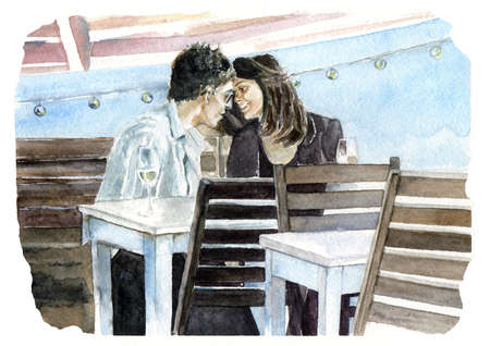 Couple in love. Hand drawn watercolor illustration Stok Fotoğraf