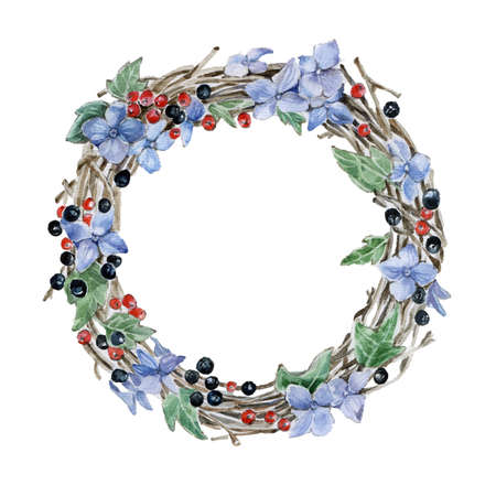 postcard: Flower wreath. Hand drawn watercolor illustration Stock Photo