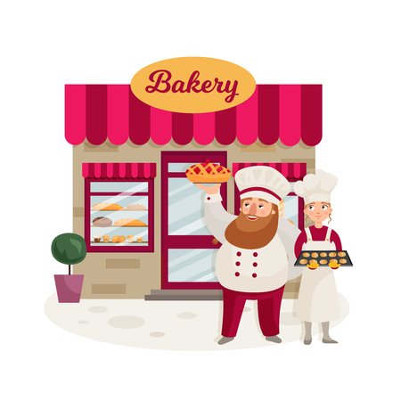 The facade of a bakery shop. A man with a beard represents a freshly baked pie. A girl holding a tray with cookies