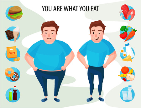 Vector illustration of fat and slim men. Healthy and unhealthy food, you are what you eat