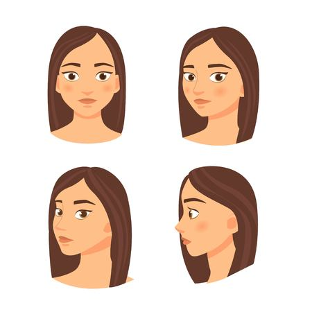 Illustration of a young girl in different projections - profile, full face.