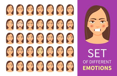 Set of young woman with different emotions. Vektorové ilustrace