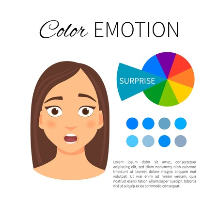 Vector infographics. Color and emotions. Influence of blue color. Portrait of a girl with emotion.
