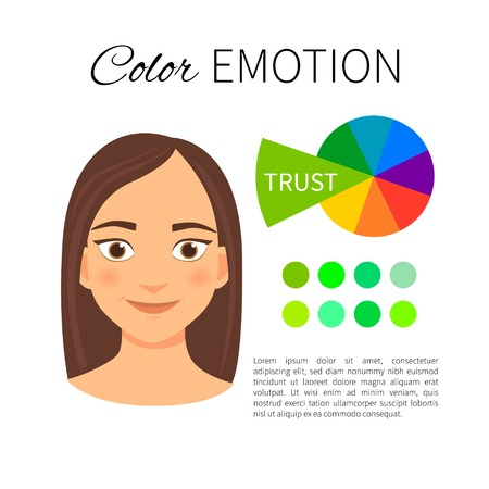 Vector infographics. Color and emotions. Influence of green color. Portrait of a girl with emotion. Иллюстрация