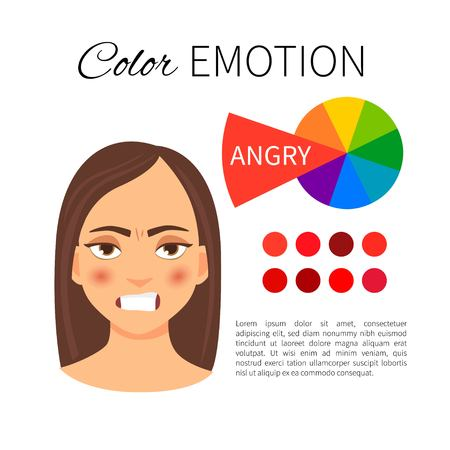 Vector infographics. Color and emotions. Influence of red color. Portrait of a girl with emotion. Иллюстрация