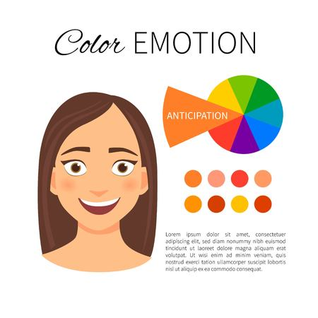 Vector infographics. Color and emotions. Influence of orange color. Portrait of a girl with emotion.