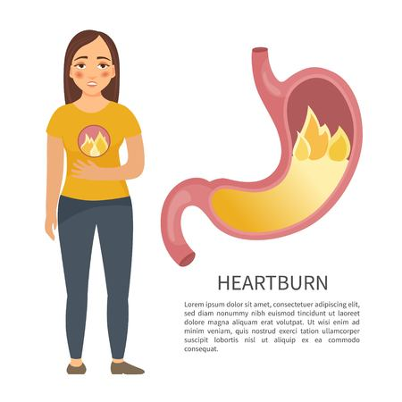 Heartburn. A cartoon character. Diseases of the stomach.