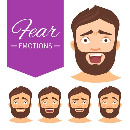 Illustration with different emotions. A man with a beard. A cartoon character. Fear.