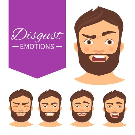 Illustration with different emotions. A man with a beard. A cartoon character. Disgust. Ilustración de vector