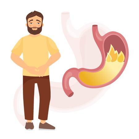 A man with a sick stomach. Heartburn.