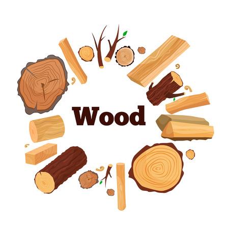 Vector illustration of a tree: branches, spilled wood, boards, firewood, shavings Ilustração Vetorial