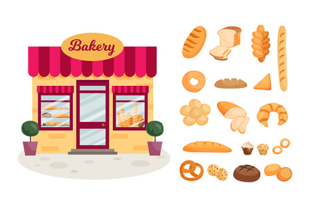 The facade of a bakery shop. Set of bread products. Illustration