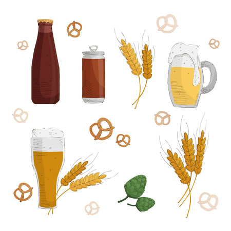 Hops, pretzels, malt, beer glass and beer mug. Isolated on white background. Hand drawn vector illustration.