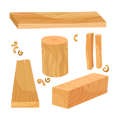 A set of materials from wood - boards, beams