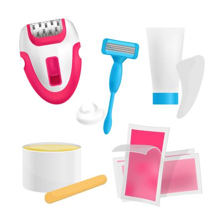 vector illustration of hair remover: epilator, wax strips, razor, shaving foam, wax, cream