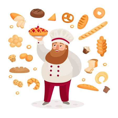A happy baker with a beard presents a freshly baked cherry pie Set of bread products.