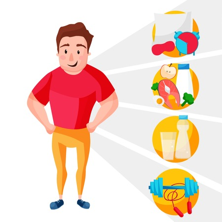Icons healthy living, sport, food, clock, healthy man