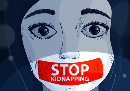 vector illustration. Kidnapping. Girl whose mouth is taped with tape.