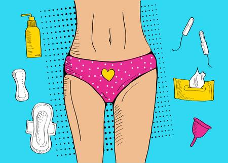 Pop art illustration of feminine hygiene products Illustration