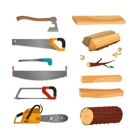 La ilustración de madera y herramientas para cortar madera. Sierras, hacha, motosierra Ilustración de vector