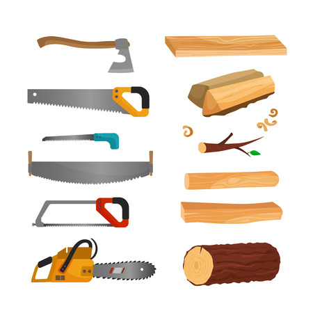 The illustration of wood and tools for cutting wood. Saws, ax, chainsaw