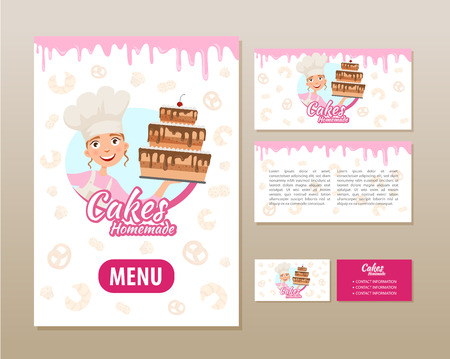 Templates of printing for a bakery. Poster, flyer and business card. Ilustração
