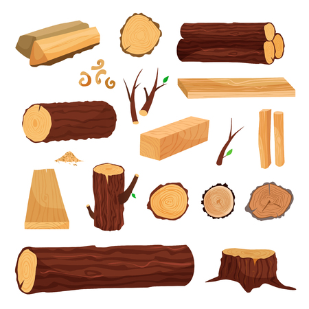 Materials for wood industry.  Logs, boards, branches, wood shavings, firewood, spilled wood Stock Illustratie