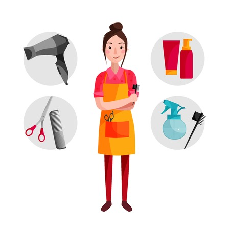 vector illustration of a hairdresser with tools