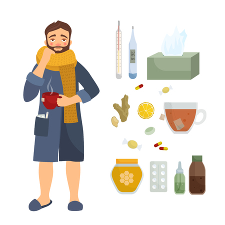Infographics of flu. Illustration of a sick man in a scarf. Means for the treatment of a disease