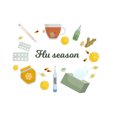 Season of influenza. Means for treating colds. Vector Illustration