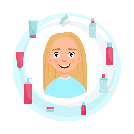 Means for skin cleansing. Illustration of a girl with healthy skin