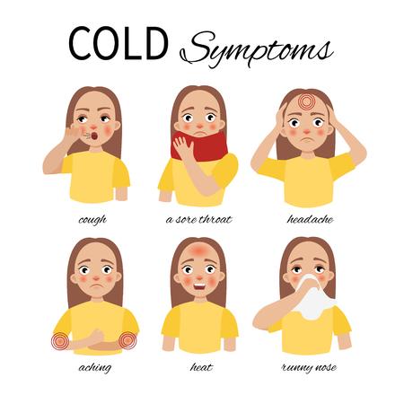 Síntomas de un resfriado. Una niña con síntomas de resfriado: fiebre, dolores, dolor de cabeza, dolor de garganta, secreción nasal, tos. Ilustración de vector