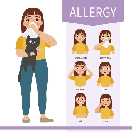 Symptoms of allergies. Illustration of a cute girl.  Illustration
